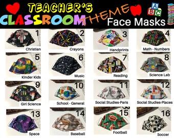 3 Layer Teacher Face Mask, Classroom Theme Face Masks, Soft Ear Loops, Nose Wire, Cotton Face Masks, Teacher Appreciation, Ready to Ship