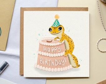 Leopard Gecko Birthday Card, Reptile Greeting Card, Animal Card for Reptile lover, Birthday Lizard Card, Quirky Birthday Card, Funny Card