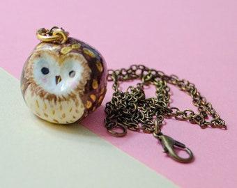 Owl Necklace, Owl Keychain, Owl pendant, Animal Necklace or Keychain, Owl Gift, Handmade Owl, Handmade Clay Charm, Owl Spirit Animal