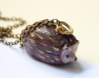 Hedgehog Necklace, Hedgehog Keychain, Hedgehog Pendant, Animal Necklace or Keychain, Hedgehog Gift, Handmade Hedgehog, Handmade Clay Charm
