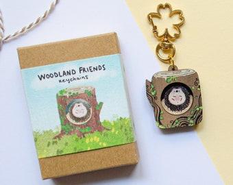 Hedgehog Keyring, Wooden Eco Friendly Keychain, Cute Hedgehog, Hedgehog Miniature, Hedgehog Gifts, Animal Forest Keychain, Cute Keychain