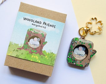 Mouse Keychain, Wooden Mouse Miniature, Collectible Keychains, Cute Mouse, Forest Animal Keychains, Eco Friendly Gift, Mouse Keyring