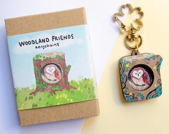 Owl Wood Keyring, Owl Keychain, Eco Friendly Owl, Eco Friendly Gift, Owl Gift, Sleepy Barn Owl, Owl Wood Miniature, Cute Handmade Owl
