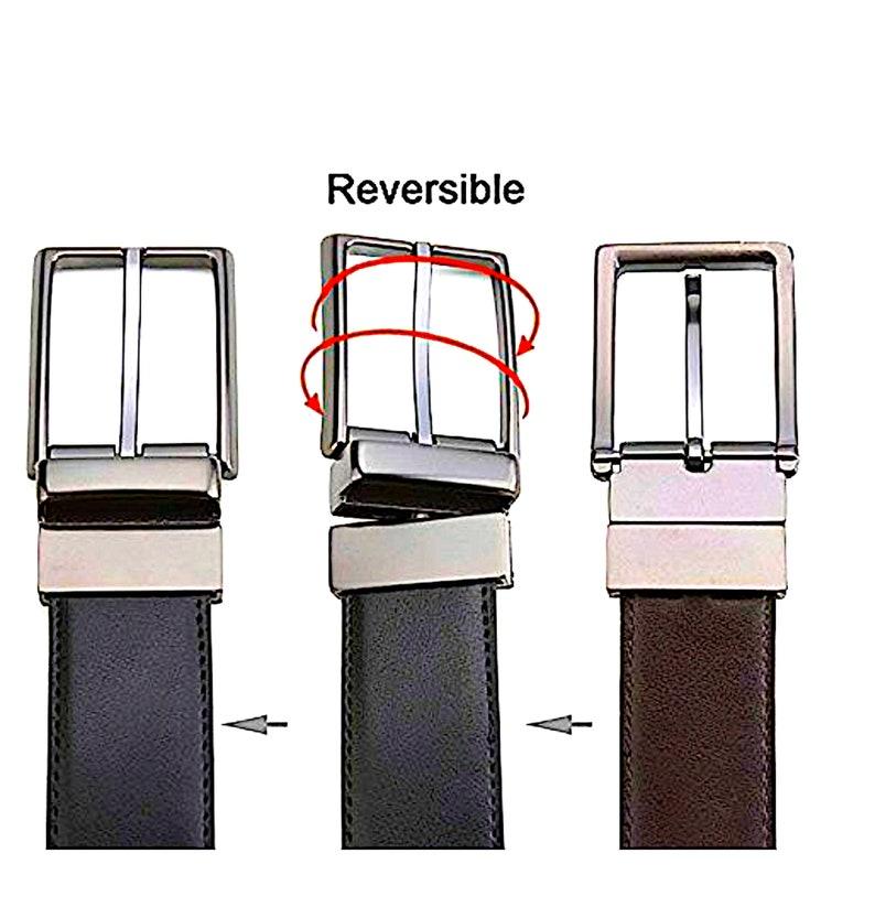 Oliver George Men/'s Reversible Bonded Leather Belt 1.5 Wide-GrayBlack