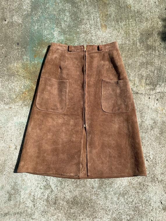 A-line Split Leather Skirt
