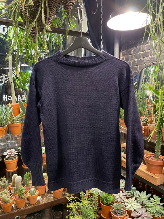 Fisherman Knit Sweater Navy Blue