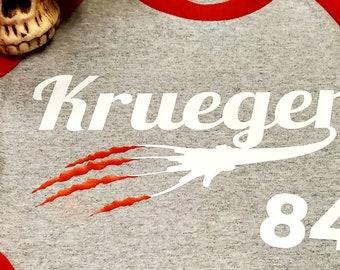 Raglan style Team Krueger baseball tee