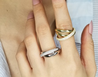 Well Used Silver Tone Setting Past Present Future Trinity Vintage Ring Large Size Costume Ring Three Main Stones Diamond Simulant Ring