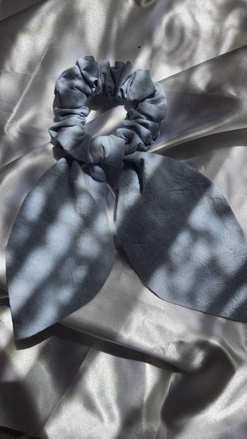 Large Scrunchie with Leaf Design Scrunchie Denim