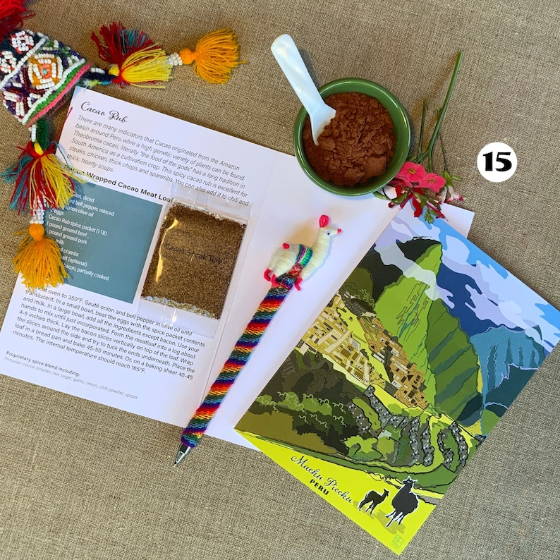 Machu Picchu Greeting Card spice pack and recipe spice greeting card. world travel Original art eco-friendly greeting card gift