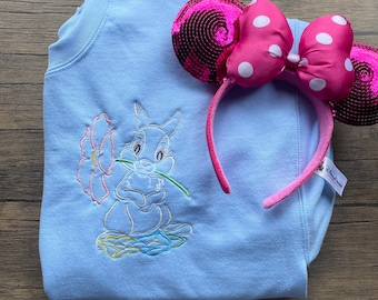 Bambi and Thumper embroidered hoodies Disney Bambi sweatshirts special gifts Mother\u2019s Day gift Embroidery Gifts Embroidered Casual