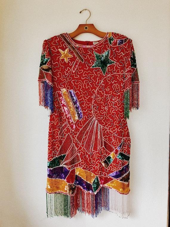 Vintage Dolly Parton style beaded fringe dress