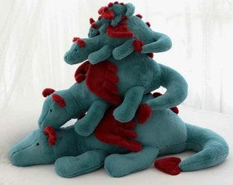 Kawaii Cute Big Fluffy Lying Winged Dragon Animal Plush Stuffed Toy