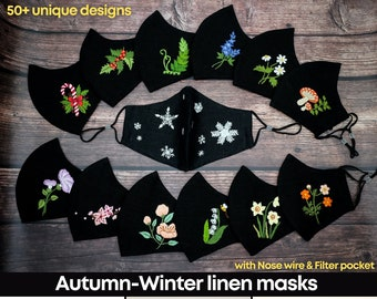 Embroidered  Face Mask with filter pocket, Pastel face mask, Breathable Linen Face Mask