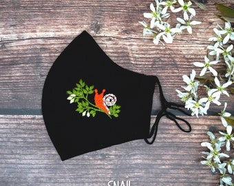 Adjustable face mask with filter pocket and nose wire, Cute face mask, Designer face mask, Floral face mask, Embroidered Face mask for women