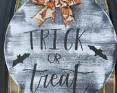 Trick or Treat Sign, Halloween Sign, Halloween Door Hanger, Trick or Treat Door Hanger, Cute Halloween Sign
