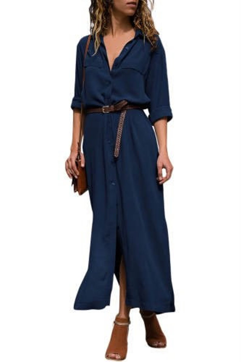 Dark Blue Slit Maxi Shirt Dress with Sash
