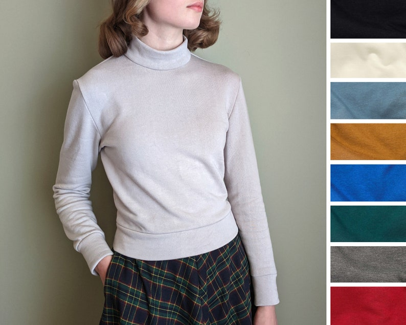 Vintage Sweaters, Retro Sweaters & Cardigan     Read the full title    Mock Turtleneck Sweater Mock Neck Top Long Sleeves Custom Size Various Colours Vintage-Style 1940s 1950s Handmade in Canada $62.68 AT vintagedancer.com