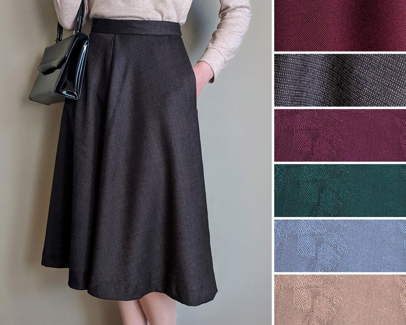 Vintage Skirts | Retro, Pencil, Swing, Boho Flared Skirt Custom Size Various Colours Pockets Vintage-Style 1940s 1950s Handmade in Canada $75.99 AT vintagedancer.com