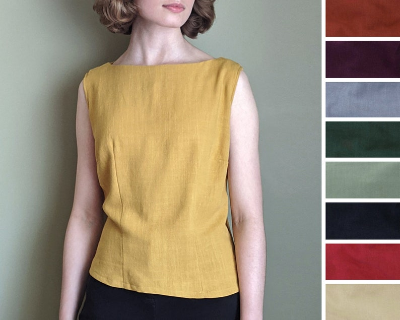 60s Shirts, T-shirts, Blouses, Hippie Shirts     Read the full title    Boat Neck Blouse Sleeveless Custom Size Various Colours Vintage-Style 1940s 1950s Handmade in Canada $52.61 AT vintagedancer.com