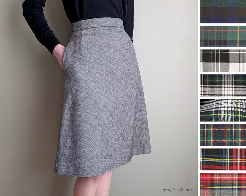 1940s Style Skirts- Vintage High Waisted Skirts     Read the full title    A-Line Skirt Plaid & Tartan Fabrics Custom Size Pockets Vintage-Style 1940s 1950s Handmade in Canada $70.84 AT vintagedancer.com