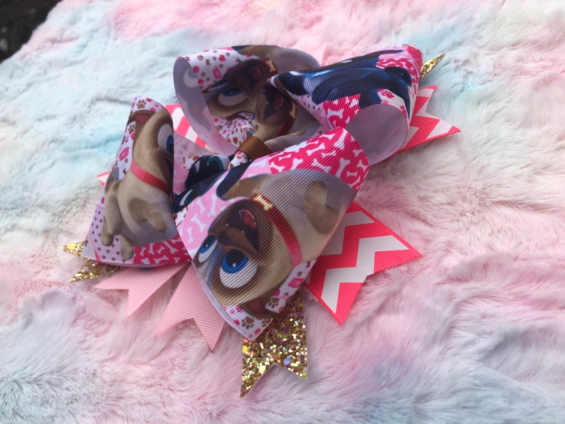Oversized Bow Bingo and Rollie Girls Hair Bow Puppy Dog Pals Boutique Stacked Hair Bow 6 inch Puppy Bow