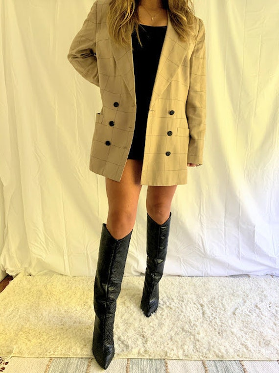 Oversized Tan Plaid Blazer