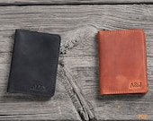 Personalized Leather Wallet for Men, Front Pocket Wallet, Slim Minimalist Wallet, Genuine Leather ID Holder, Handmade Leather Card Holder.
