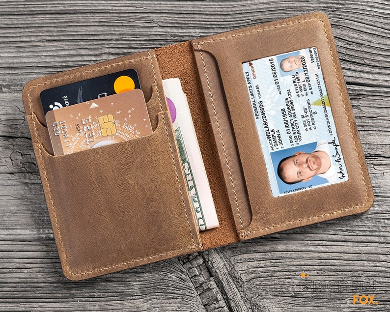 Personalized Leather Minimalist Slim Card Holder Wallet