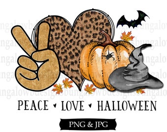 Peace Love Halloween Download INSTANT DOWNLOAD Sublimation Printable Clipart PNG Autumn Digital Download
