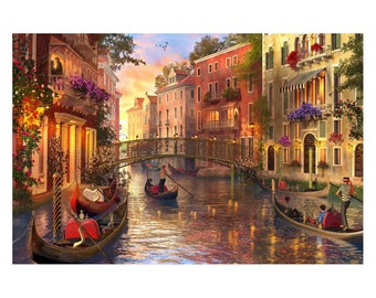 VARWANEO Venice Puzzle 1000 Pieces for Adults Educational Fun Game Intellectual Jigsaw Puzzle Decompressing Interesting Puzzle for Men Women Kids