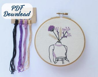 PDF Pattern /& Complete Step-by-step Guide Read Books and Chill Turquoise  Female Embroidery Pattern