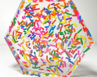 Set of 2 Rainbow Coaster Sprinkle Coaster Rainbow Sprinkles Resin Coaster