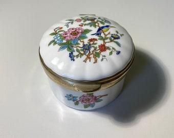 Vintage AYNSLEY Pembroke Fine Bone China Floral Bird Hinged Trinket Keepsake Box