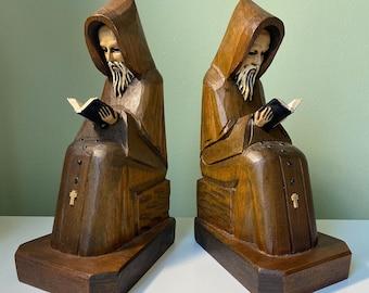 Vintage Hand-Carved Wood Reading Praying Monk Bookends Folk Art