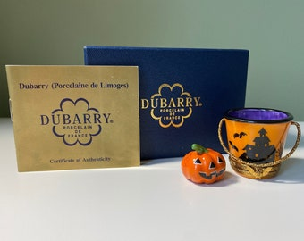Vintage Collectible Dubarry Hand-Painted French Limoges Box Halloween Trick-or-Treat Pail & Jack O' Lantern