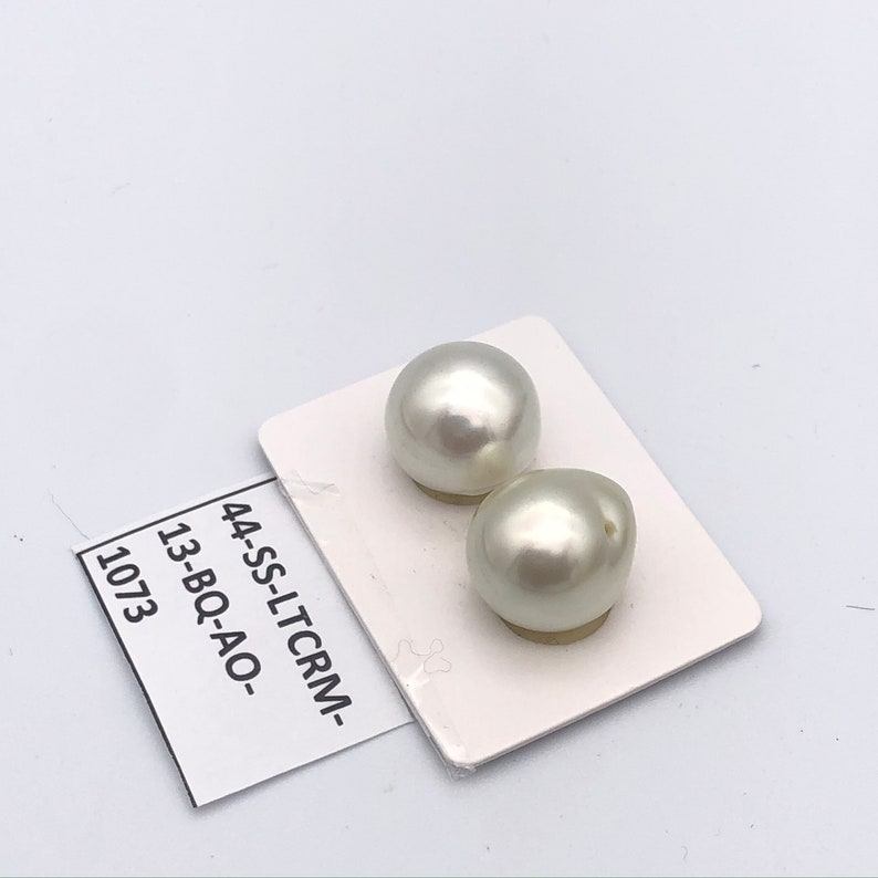 Loose Pearl Very High Luster 13mm BAROQUE SOUTH SEA matched pair White South Sea Pearl Baroque Pearl