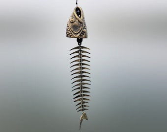 Metal Fish Bone Wind Chime, Iron Vintage Bell Ring Windchime, Traditional Eastern Oriental Zen Home Garden Decoration