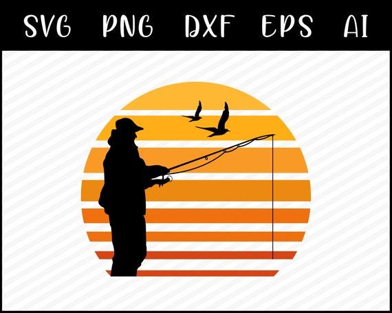 Download Retro Sunset Fishing Svg Fishing Clipart Bass Fishing Svg Etsy