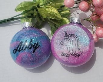 Personalized unicorn ornament, custom unicorn ornament, little girl ornament, personalized Christmas ornament