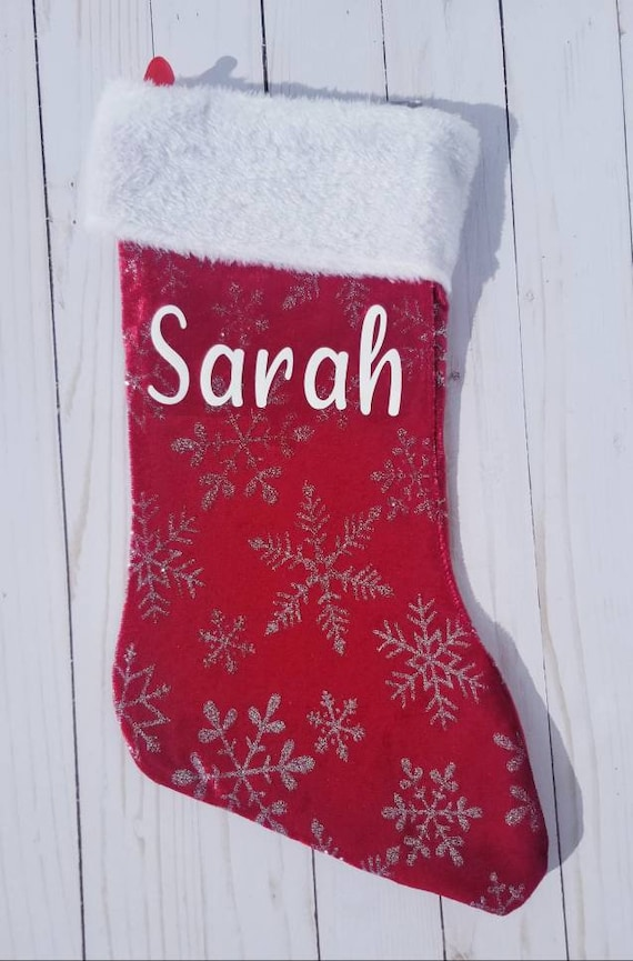 Red GLITZ Sequins Stocking Red Christmas Stocking Unique Holiday Stocking