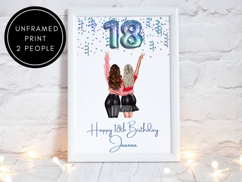 Best Friend Friend etc Personalised Gift for Bestie Personalised Best Friends 18th Birthday Balloon Friendship Print BFF
