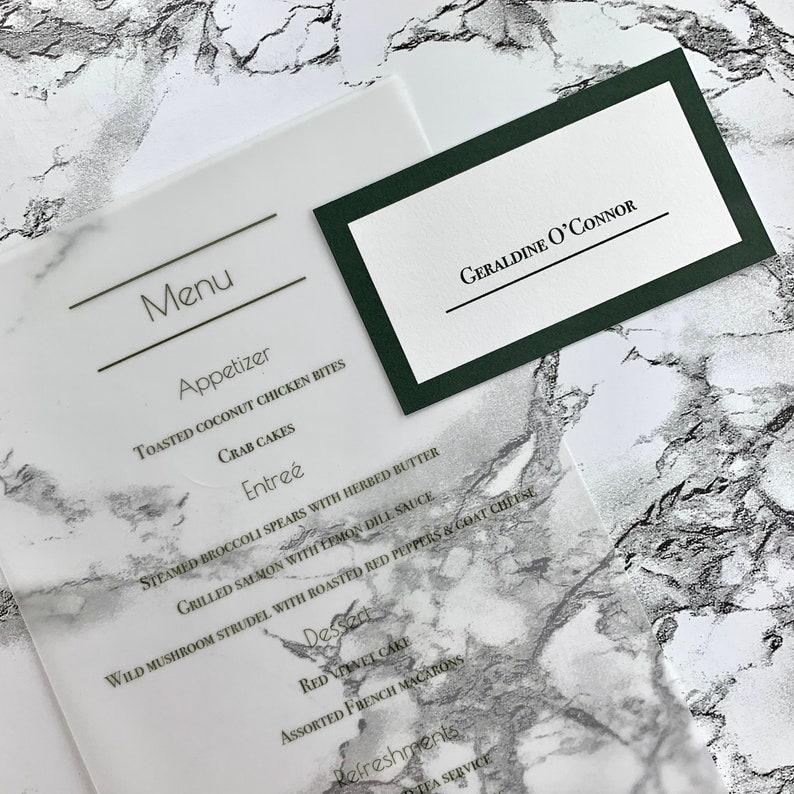 Forest Green Wedding Table Name Card Modern Greenery Wedding Place Card Elegant Emerald Green Wedding Place Card or Escort Card