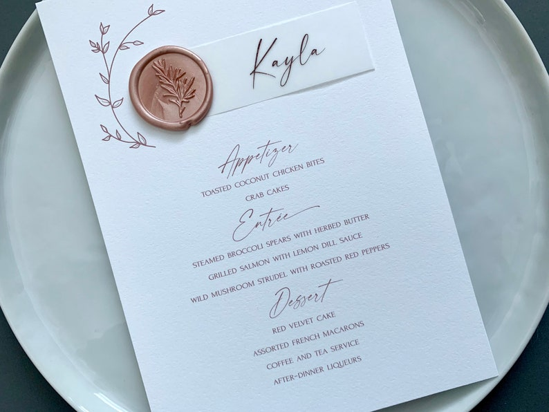 Menu with Place Card Modern Menu Sign with Name Card Vellum Wax Seal Custom Floral Wedding Menu Card with Vellum Place Card /& Wax Seal
