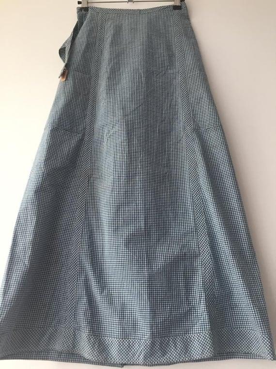 Retro checked midi skirt