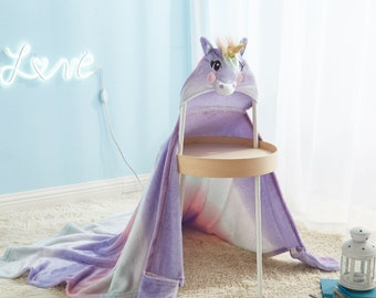 Great Present Choice Unicorn Blanket for Girls Teens or Moms Track Fleece Throw Blankets for Toddlers Cute Warm Baby Blanket with Sherpa Plush Backing Large 50 x 60 Kids