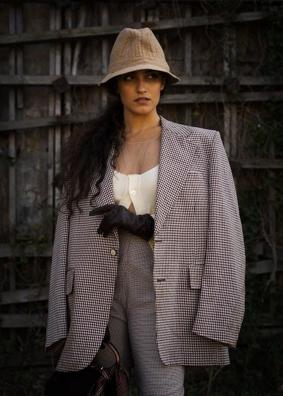 Fiona Vintage Gingham Check Oversized Blazer