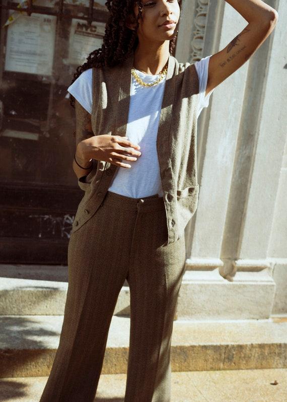 Devon Vintage Brown Knit Sweater Vest
