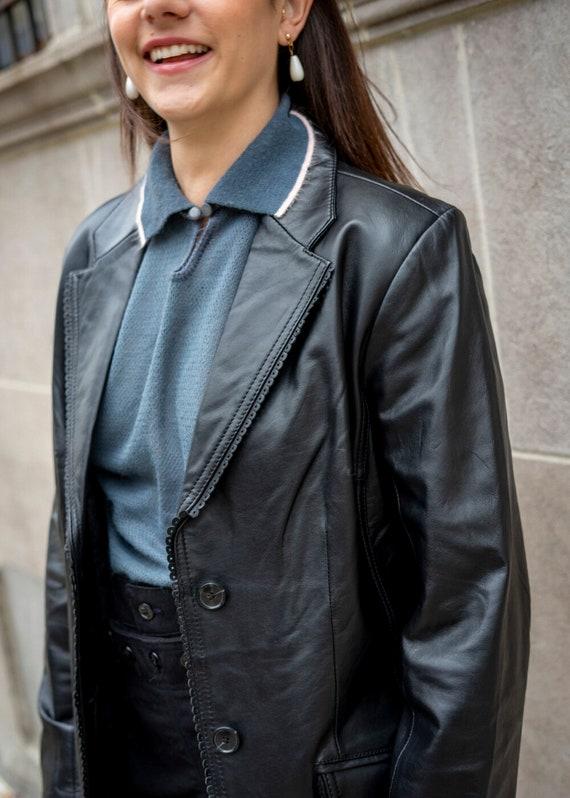 Diana Vintage Black Leather Blazer