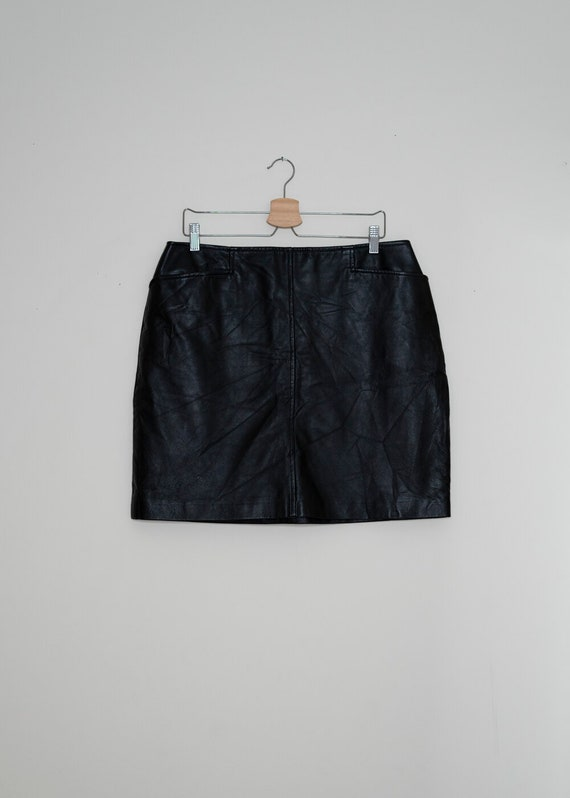 Anaïs Vintage Black Leather Mini Skirt